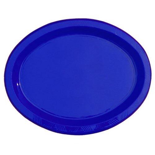9 x 12 Dark Blue Plastic Oval trays 6
