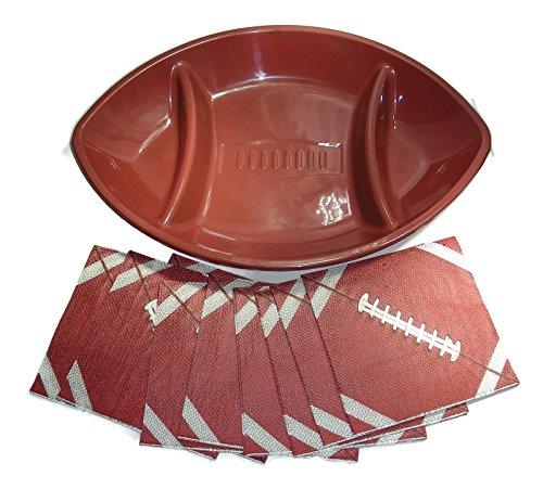Football Appetizer Platter with 80 Football Themed Napkins - 2 Item Bundle