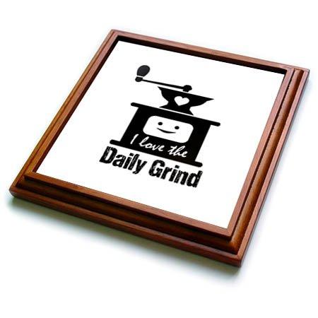 3dRose Russ Billington Designs - Funny Coffee Grinder Design in Black on White - 8x8 Trivet with 6x6 ceramic tile trv_262259_1