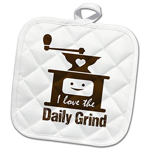 3dRose Russ Billington Designs - Funny Coffee Grinder Design in Brown on White - 8x8 Potholder phl_262256_1