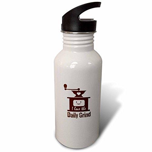 3dRose Russ Billington Designs - Funny Coffee Grinder Design in Brown on White - Flip Straw 21oz Water Bottle wb_262256_2