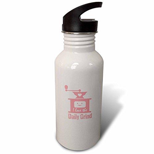 3dRose Russ Billington Designs - Funny Coffee Grinder Design in Pink on White - Flip Straw 21oz Water Bottle wb_262258_2