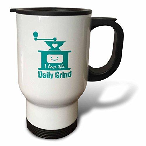 3dRose Russ Billington Designs - Funny Coffee Grinder Design in Teal on White - 14oz Stainless Steel Travel Mug tm_262257_1