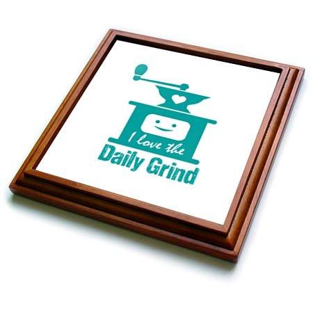 3dRose Russ Billington Designs - Funny Coffee Grinder Design in Teal on White - 8x8 Trivet with 6x6 ceramic tile trv_262257_1