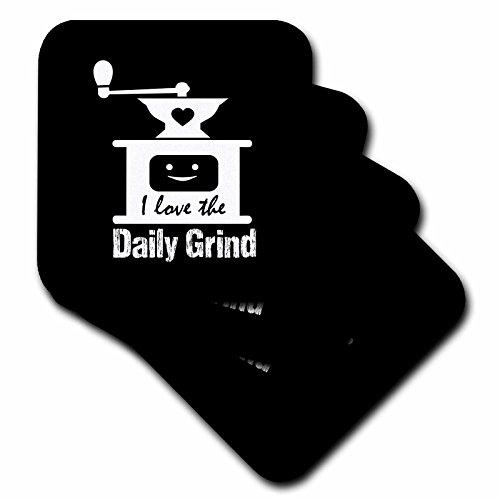 3dRose Russ Billington Designs - Funny Coffee Grinder Design in White on Black - set of 4 Ceramic Tile Coasters cst_262260_3