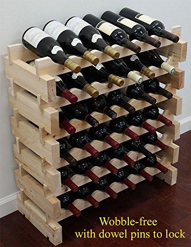 36 Bottle Capacity Stackable Storage Wine Rack Wobble-Free WN36