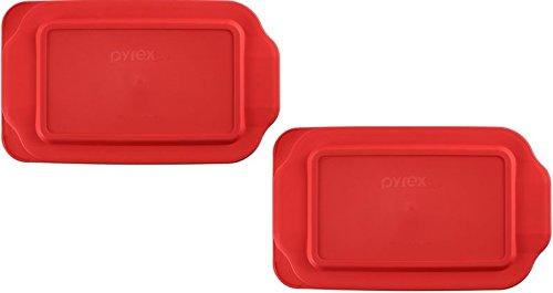 Pyrex 2 Quart 7 x 11 Red Rectangular Plastic Lid 232-PC for Glass Baking Dish 2pks