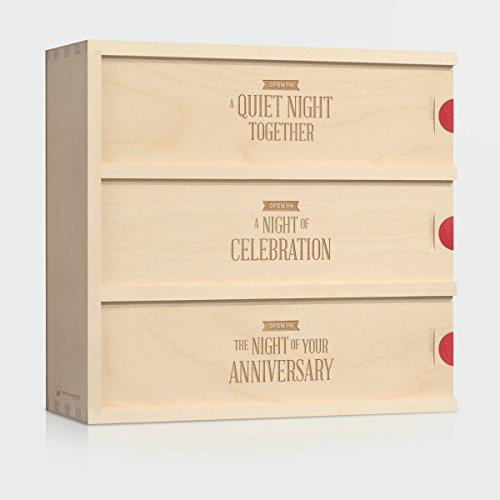 Wedding Wine Box - Three Nights  Unique Wedding Gift for the Couple - Patented WineforaWedding Anniversary Wine Box - 3-Bottle Wine Box