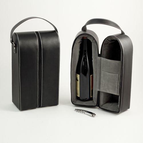 Black Leather Wine Bottle Carrier Caddy Travel Tote Bag Tool Set