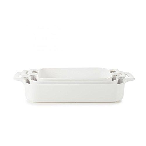 REVOL SET03BC001 Culinary Porcelain Rectangular Baking Dishes Satin White