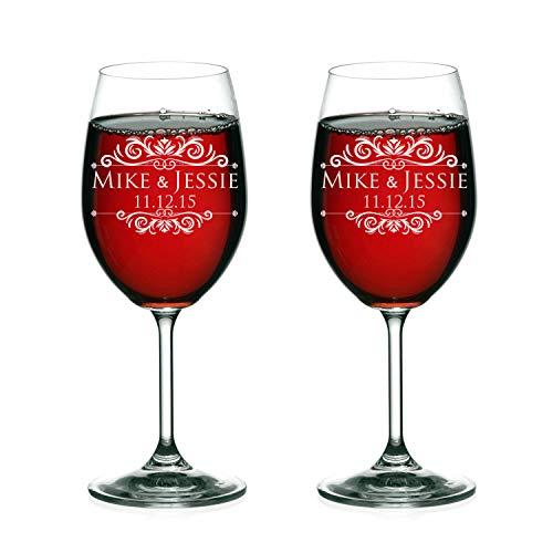 Bride Groom Names Date Engraved Set of 2 Glasses Customized Wedding Toast Wine Flute Set Wedding Toasting Glasses - Personalized Flutes