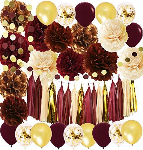 Wine Burgundy Champagne Gold Bridal Shower DecorationsFall Wedding Decorations Big Size Burgundy Tissue Pom Pom Maroon Gold Balloons Burgundy WeddingWomen 30th50th Birthday Party Decorations