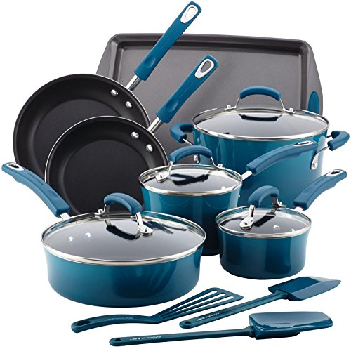 Rachael Ray Hard Enamel Nonstick 14-Piece Cookware Set Marine Blue