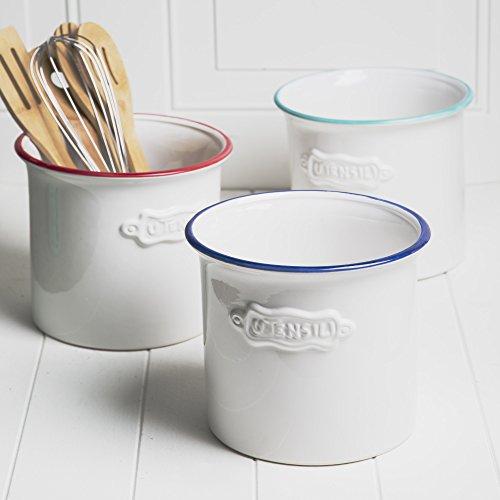 Home Essential Vintage Ceramic Utensil Container- Utensil Crock With EmbossedUtensil
