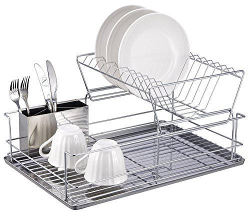 1208S 2-Tier Stainless Steel Dish  Cup Drying Rack with Removable Utensil Cup
