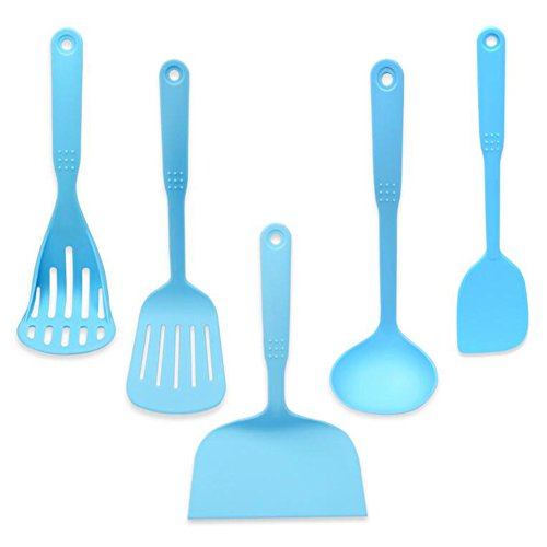 5 Pieces Nylon Kitchen Utensil Set FDA Approved BPA Free Non-Stick Dishwasher Safe and Heat Resistant Cook Tools Including Fish Flipper Spatula Soup Ladle Slotted Turner Potato Masher