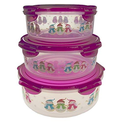 6pc Lock Lock Christmas Plastic Food Storage Containers Set Locking With Snap Lids Airtight BPA Free