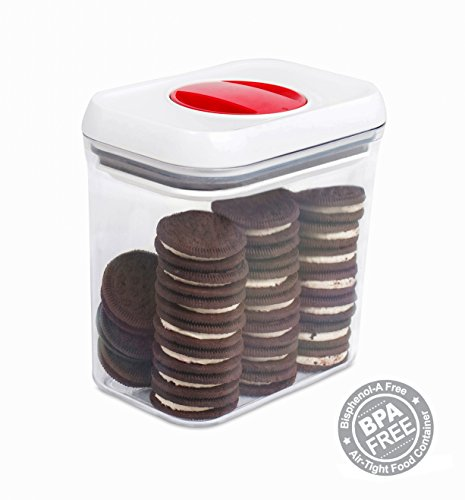 Internets Best Spin Lock Airtight Canisters  507 oz Rectangle Container  Thick BPA Free Stacking Plastic Food Storage Twist Lock for Sugar Rice Flour Pasta Nuts Cookies