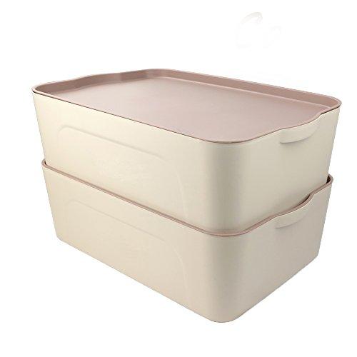 Cand 18-Quart Plastic Storage Boxes with Lids Blind Set of 2 Khaki