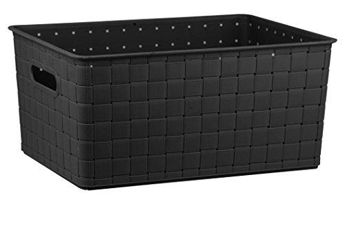 Home Basics Plastic Storage Basket Black Medium