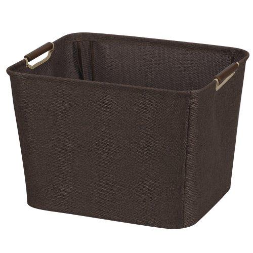 Household Essentials 601 Medium Shelf Basket with Wood Handles - Multi-Purpose Home Storage Bin - Brown Coffee Linen
