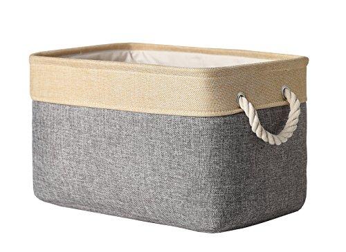 TheWarmHome Collapsible Rectangular Fabric Storage Bin Organizer Basket with Handles for Clothes StorageToy OrganizerPet Toy StoringGrey