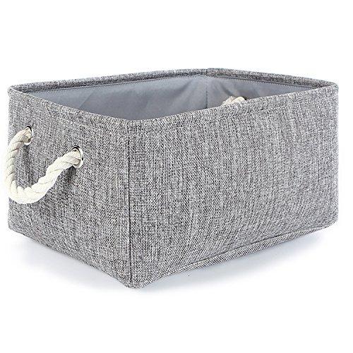 TheWarmHome Small Foldable Linen Storage Bins for Toy Organizer Grey