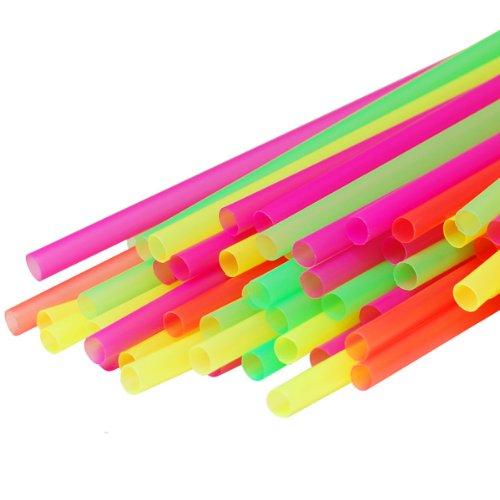 120ct Large Milkshake  Smoothie  Slush Straws Disposable Jumbo Extra Wide Thick Long Plastic Drinking Straw Assorted Colors 9x4 120