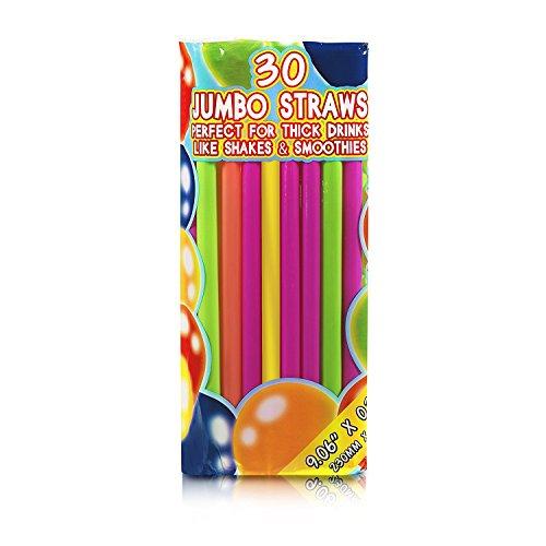 Set of 180 - Extra Large Milkshake  Smoothie  Slush Straws Disposable Jumbo Extra Wide Thick Shake Long Plastic Drinking Straw Assorted Colors 9
