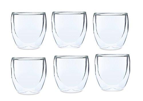 Set Of 6 Espresso Glasses, Double Wall Thermal Insulated Borosilicate Glass Espresso Shot Glasses-2.7oz Espresso
