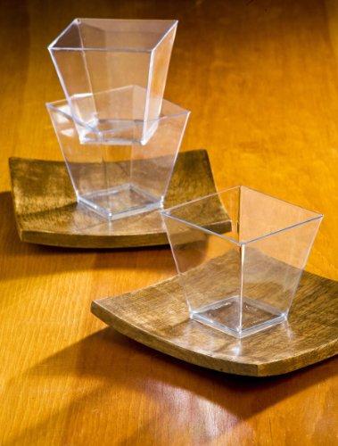 Zappy Elegant Square Mini Cube 2oz Clear Tasting Sample Shot Glasses 40 Ct Dessert Cups