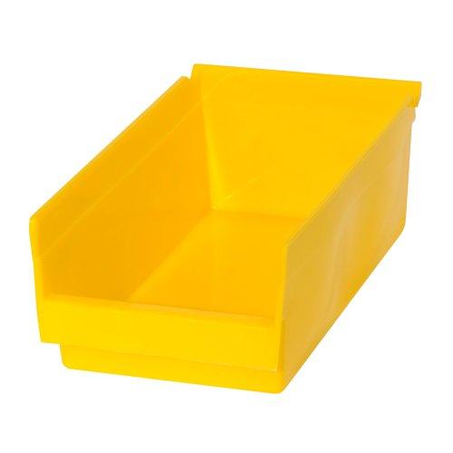 Edsal PB301 Heavy Duty Plastic Bin 6 Width x 4 Height x 12 Depth Yellow Pack of 48