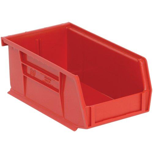 Edsal PB8501R High Density Stackable Plastic Bin 4 Width x 3 Height x 7 Depth Red Pack of 24