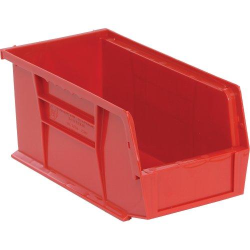 Edsal PB8502R High Density Stackable Plastic Bin 5 Width x 5 Height x 11 Depth Red Pack of 12