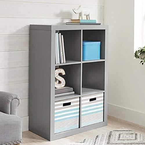 Better Homes and Gardens 4-Cube Organizer Storage Bookcase Bookshelf 4 White Gray 6 Cube