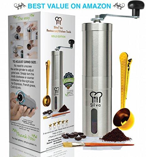 Manual Coffee Grinder + Free Coffee Scoop And Brush- Stainless Steel Adjustable Burr Coffee Grinder | Herb And