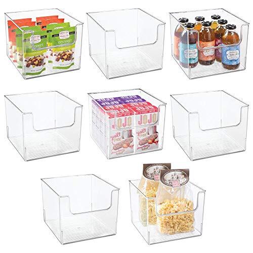 mDesign Plastic Open Front Food Storage Bin for Kitchen Cabinet Pantry Shelf FridgeFreezer - Organizer for Fruit Potatoes Onions Drinks Snacks Pasta - 10 Wide 8 Pack - Clear