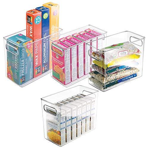 mDesign Tall Plastic Kitchen Pantry Cabinet Refrigerator or Freezer Food Storage Bin with Handles - Organizer for Fruit Yogurt Snacks Pasta - Food Safe BPA Free - 10 Long 4 Pack - Clear
