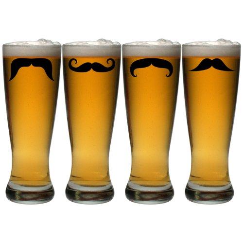 Susquehanna Glass Moustaches Grand Pilsner Glass, 20-ounce, Set Of 4