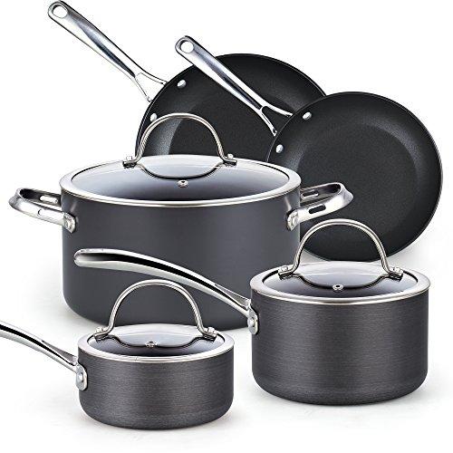 Cooks Standard 8-Piece Hard Anodized Nonstick Cookware Set Black