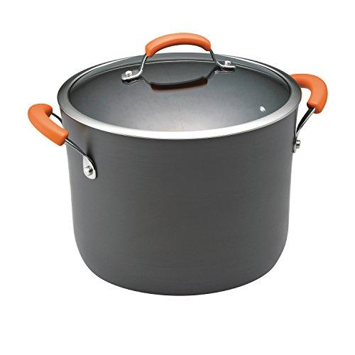Rachael Ray Hard Anodized II Nonstick Dishwasher Safe 10-Quart Covered Stockpot Orange