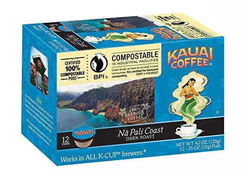 Kauai Coffee Na Pali Coast Dark Roast 12 Single Serve Cups 42 Ounce