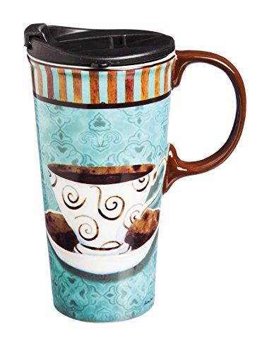 Cypress Home Ceramic Deja Brew Travel Coffee Mug 17 ounces