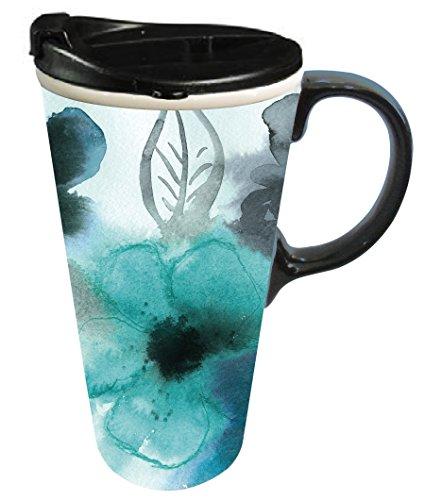 Cypress Home Ceramic Watercolor Floral Travel Coffee Mug 17 ounces