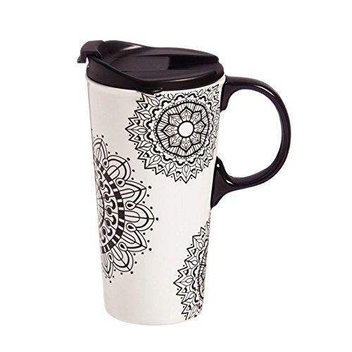 Cypress Home Mandala Mania Coloring Book Ceramic Travel Coffee Mug 17 ounces