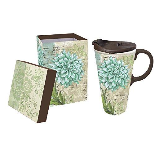 Cypress Home Turquoise Dahlia Ceramic Travel Coffee Mug 17 ounces