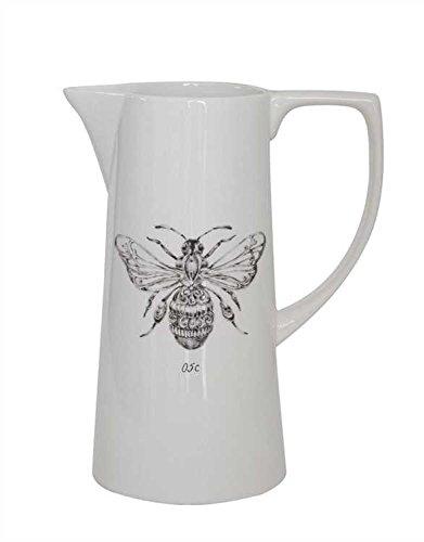 White Bee Ceramic Pitcher - Set Of 2