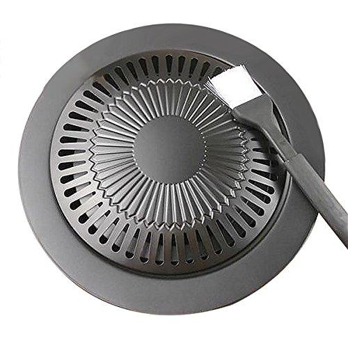Korean Barbecue Grill Pan Stovetop Nonstick IndoorOutdoor Smokeless BBQ Cast Iron Grill Plate