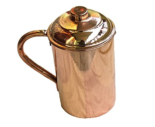 STREET CRAFT Copper Pitcher Jug With Lid Handmade Indian Drinkware Accessories 34 Oz Aprox Brown Set Of 1