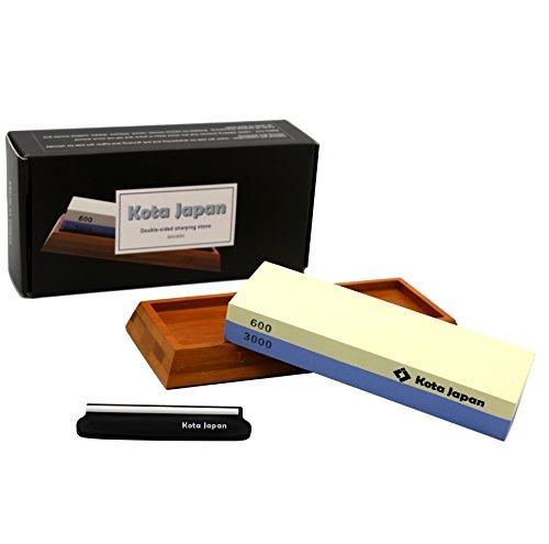 Kota Japan Premium Sharpening Stone 600-3000 Whetstone Knife Sharpener EASY USE eBook Blade Guide No-Slip Bamboo Wood Base GUARANTEED to Give You Razor Sharpness